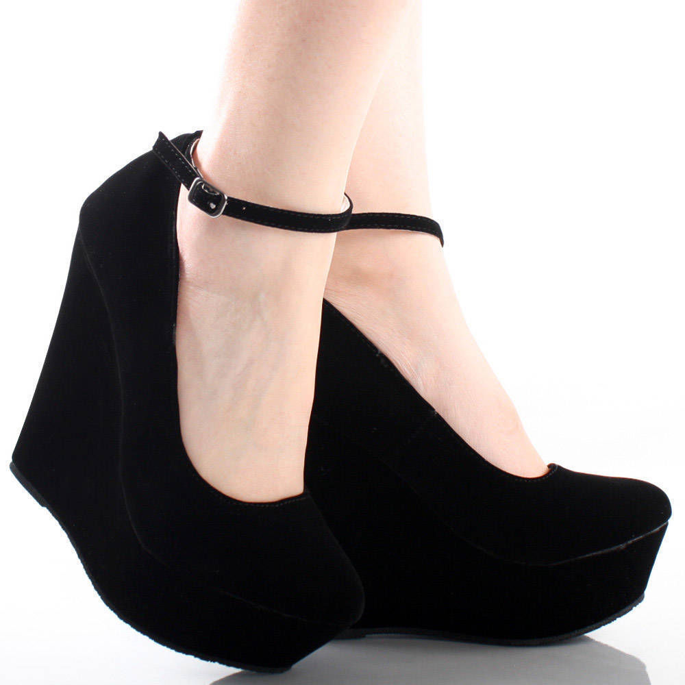 Black Suede Ankle Strap Round Toe Women High Heel Platform Wedge Dress Shoes 7 | eBay