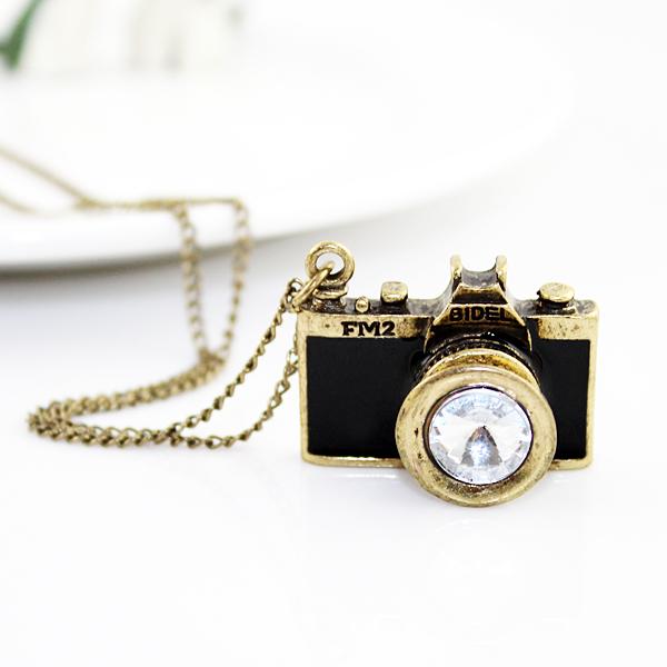 New arrival individual vintage black camera necklace