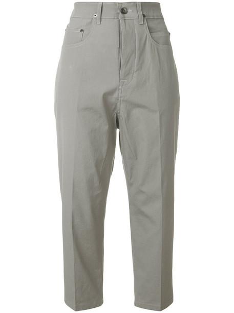 Rick Owens DRKSHDW cropped high women spandex cotton grey pants
