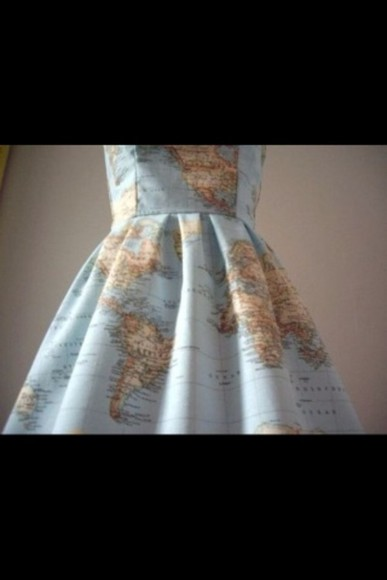 dress puffy short dress world map light blue browns green different color words