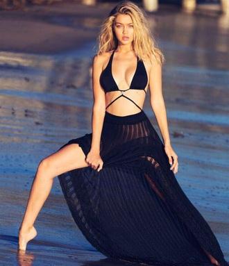 swimwear cut-out swimsuit black high waisted high waisted bikini gigi hadid