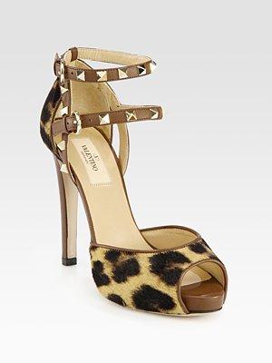 Print calf hair & leather rockstud sandals