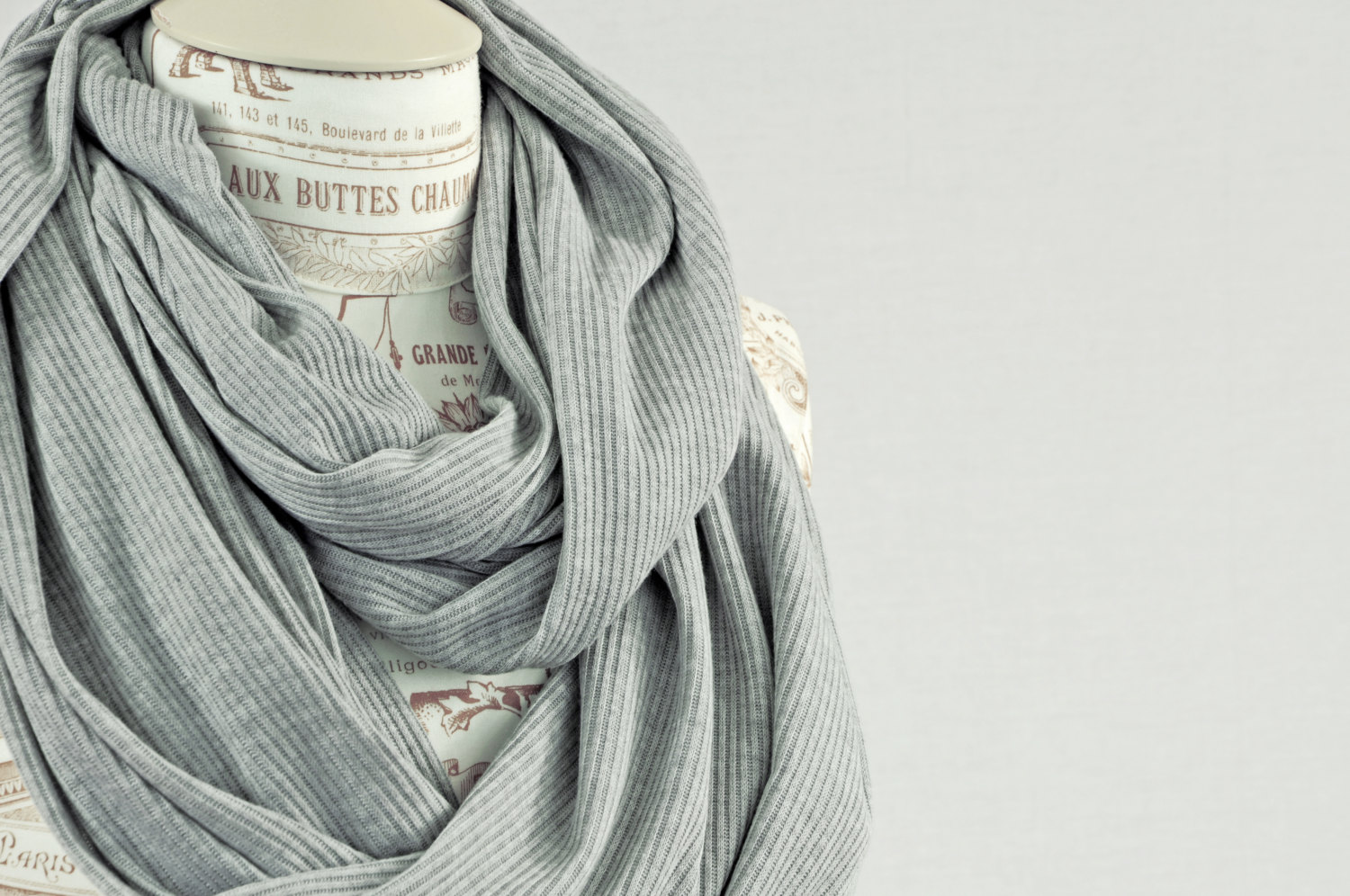 Light Grey Infinity Scarf Heather Gray Ribbed Sweater Knit ...