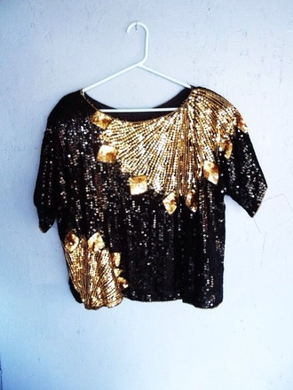 top sequins fancy crop tops black and gold