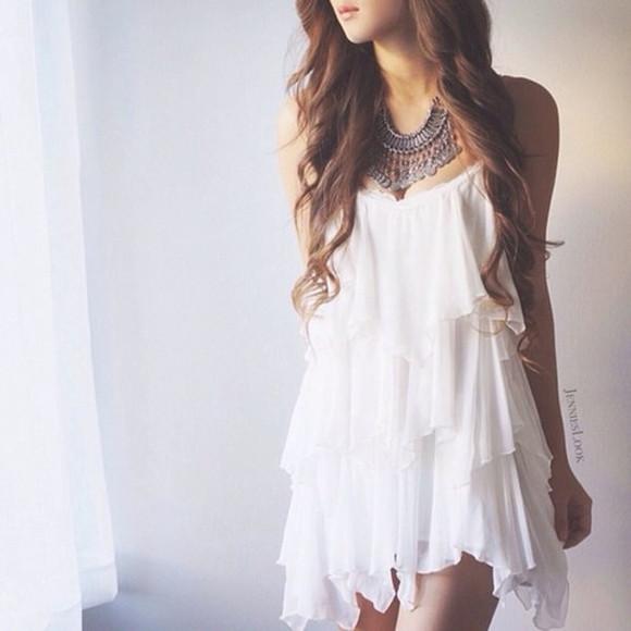 white dress short dress flowy flow flowy dress white flowy dress boho bohemian dress