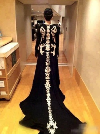 skeleton hair jewels jacket costume dark long dark-coloured long.dress long sleeve dress style t-shirt halloween halloween costume