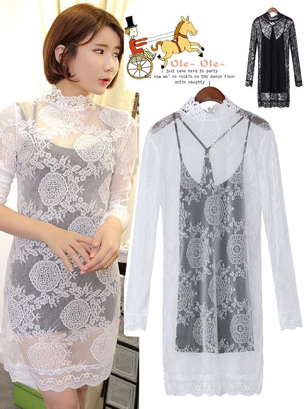Beige/black high neck lace long sleeve mini dress : kisschic.com