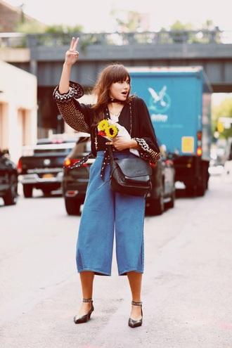 natalie off duty blogger blouse shoes scarf jumpsuit bag