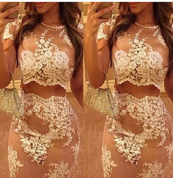dress lace dress two-piece nude dress instagram instagram pink cream dress vintage dress skirt pencil skirt