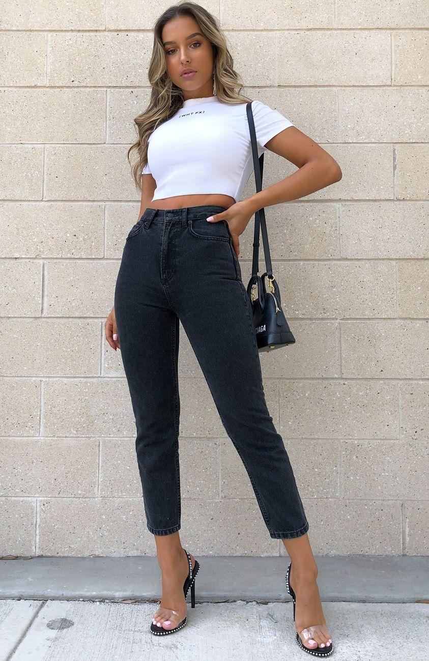 Drive Me Crazy Cropped Jeans Vintage Black