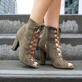 shoes olive green heels chunky heel lace up neutral gojane