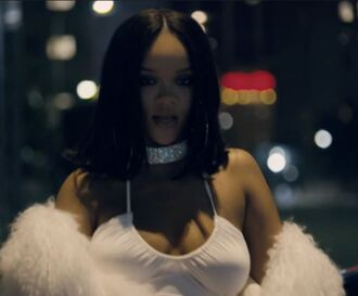 dress music video white dress white choker necklace rihanna bodycon dress