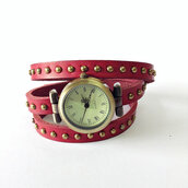 jewels,wrap watch,watch,studded,leather watch,red