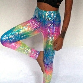 leggings geometric holographic colorscolorful geometric leggings holographic pants