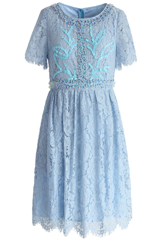 dress sparkling embellished lace dress in pestal blue chicwish lace dress blue dress summer dress chicwish.com