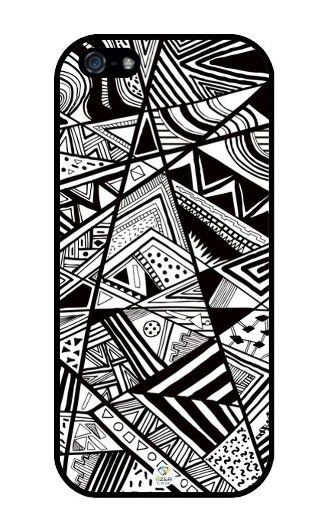 Amazon.com: izercase geometric shapes black and white rubber iphone 5 / iphone 5s case