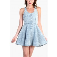 OMG Acid Wash Denim Jean Skater Dress