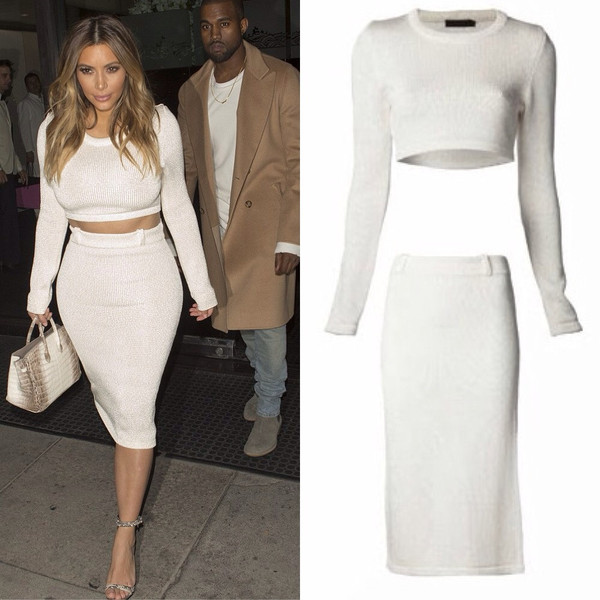 white crop top and midi skirt set | Gommap Blog