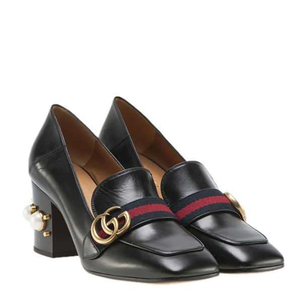 heel pearl pumps leather black black leather shoes