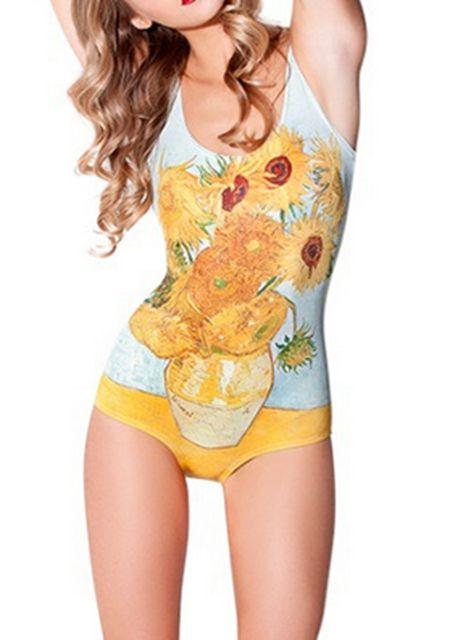 Women's sunflower printing swimwear online