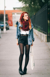 le happy,blogger,jacket,t-shirt,scarf,tights,denim jacket,heels,fall outfits,shorts,shoes,opaque tights