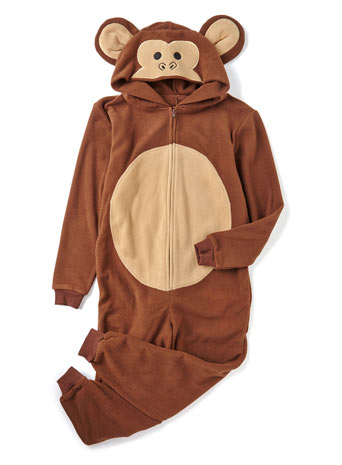 Monkey Hooded Fleece Onesie - BHS