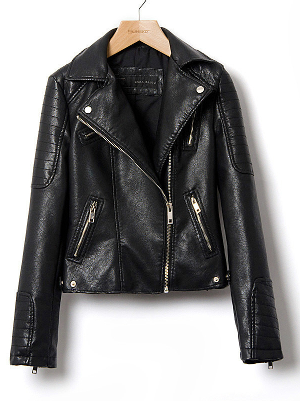 Lapel Long Sleeve Plain Fitted Leather Jacket  : KissChic.com