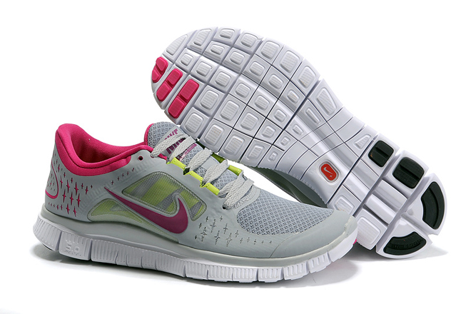 Nike Free Run 3 White Cool Grey Fuchsia-Womens