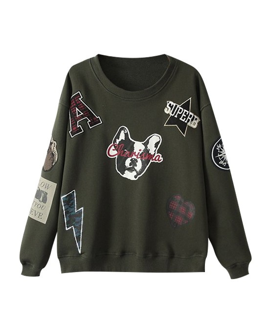 Street Fashion Loose Fit Applique Sweatshirt