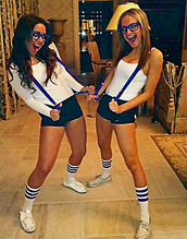 sunglasses,glasses,tank top,knee high socks,suspenders,clothes,halloween costume,nerd,white,blue,shorts