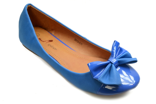 Blue two tone large bow ballerina pumps