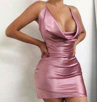 dress silk silk dress short dress sexy sexy dress v neck v neck dress mini dress short plunge v neck peach dress peach bodycon dress satin black dress