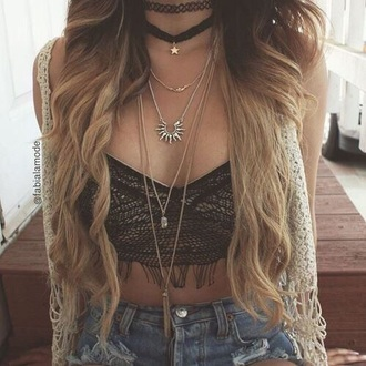 jewels boho choker black necklace gold star necklace aztec style necklace top necklace choker necklace black choker