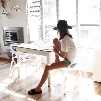 hat tumblr white t-shirt t-shirt denim shorts shorts blue shorts slide shoes black slides black hat table home decor