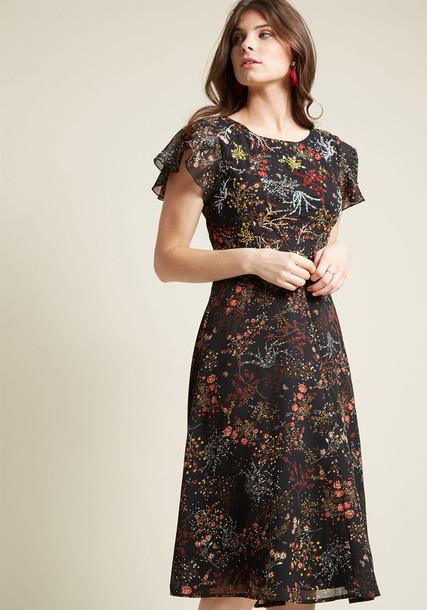 Modcloth dress midi dress midi embellished floral black