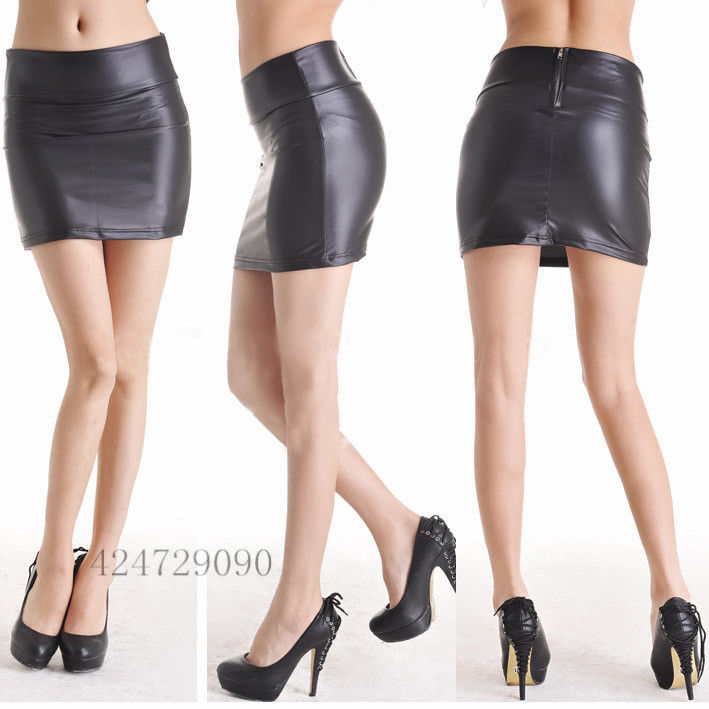 Black Sexy Stretch Leather Look High Waisted Zip Back Mini Skirt Dres E003 | eBay