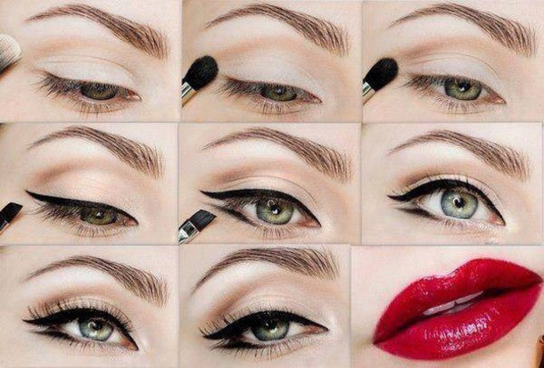 make-up eyeliner red lipstick
