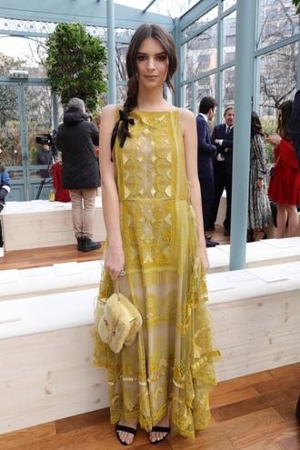 dress paris fashion week 2017 maxi dress emily ratajkowski fashion week 2017 lace dress