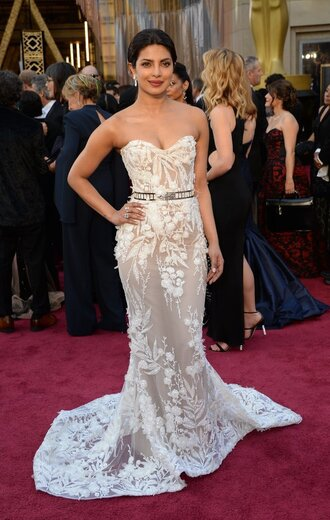 dress priyanka chopra gown bustier dress red carpet dress lace dress prom dress wedding dress oscars 2016 see through dress bustier wedding dress white lace dress lace wedding dress