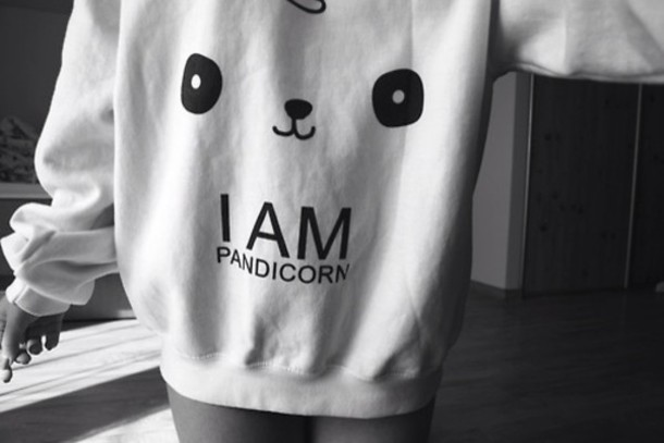 Sweater: panda, cute, girly, black, white, swag, cool, black and ...