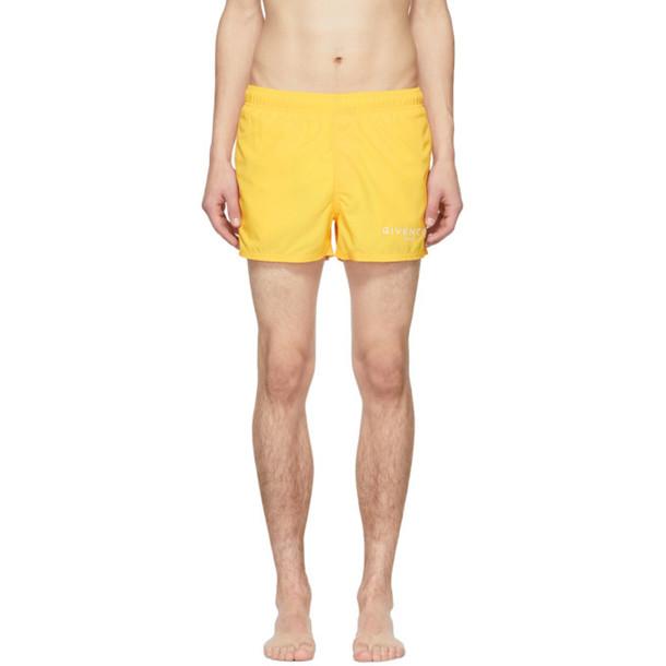 ddd62f2f4a3ec6 Givenchy Yellow Logo Swim Shorts - Wheretoget