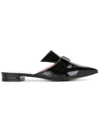 women mules leather black shoes