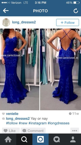 dress blue dress long dress backless dress