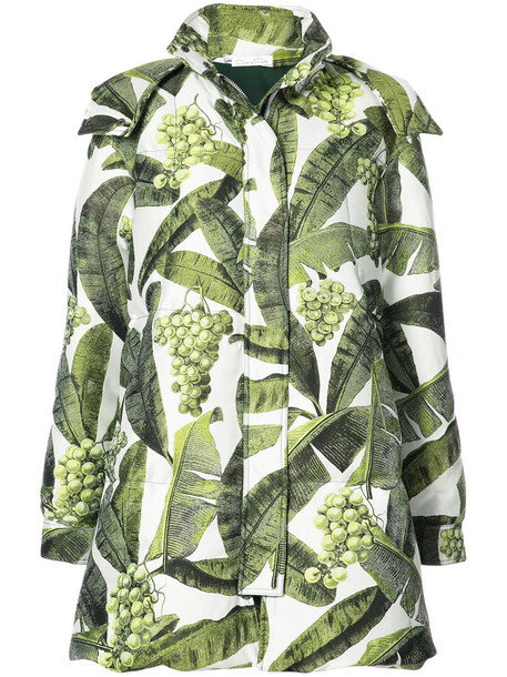 oscar de la renta coat printed coat women green