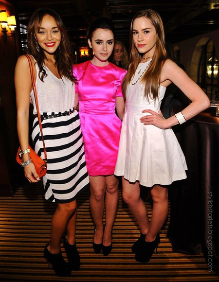 lily collins dress actress christa b. allen ashley madekwe revenge clothes elegant elegant dress evening dress white dress white celebrity dresses instagram