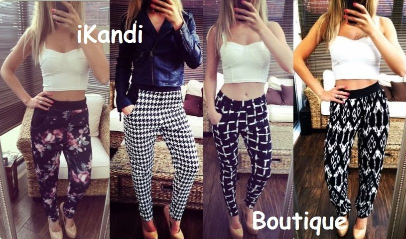 New ladies dogtooth monochrome stretchy skinny leggings harem pants trousers