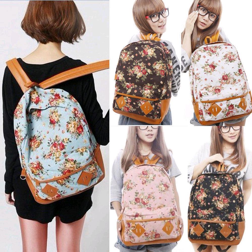 New Women Girl Canvas Rucksack Vintage Flower Backpack School Book Shoulder Bag