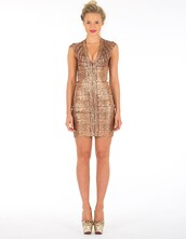 dress,ustrendy dress,bandage dress,ustrendy,bronze bandage,metallic,metallic bandage dress