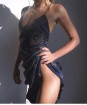 dress,sun,blue dress,v neck dress,sexy dress,navy,silk,navy silk,embroidered,gold embroidery,spaghetti strap,navy dress,spaghetti straps dress