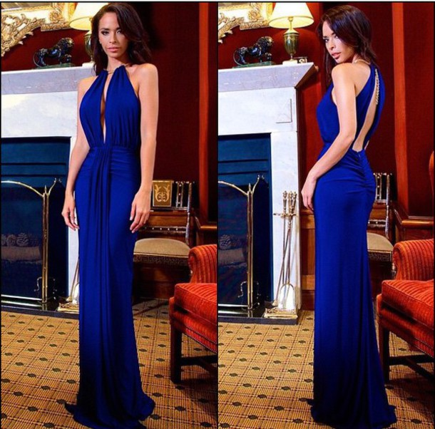 dress prom dress royal blue